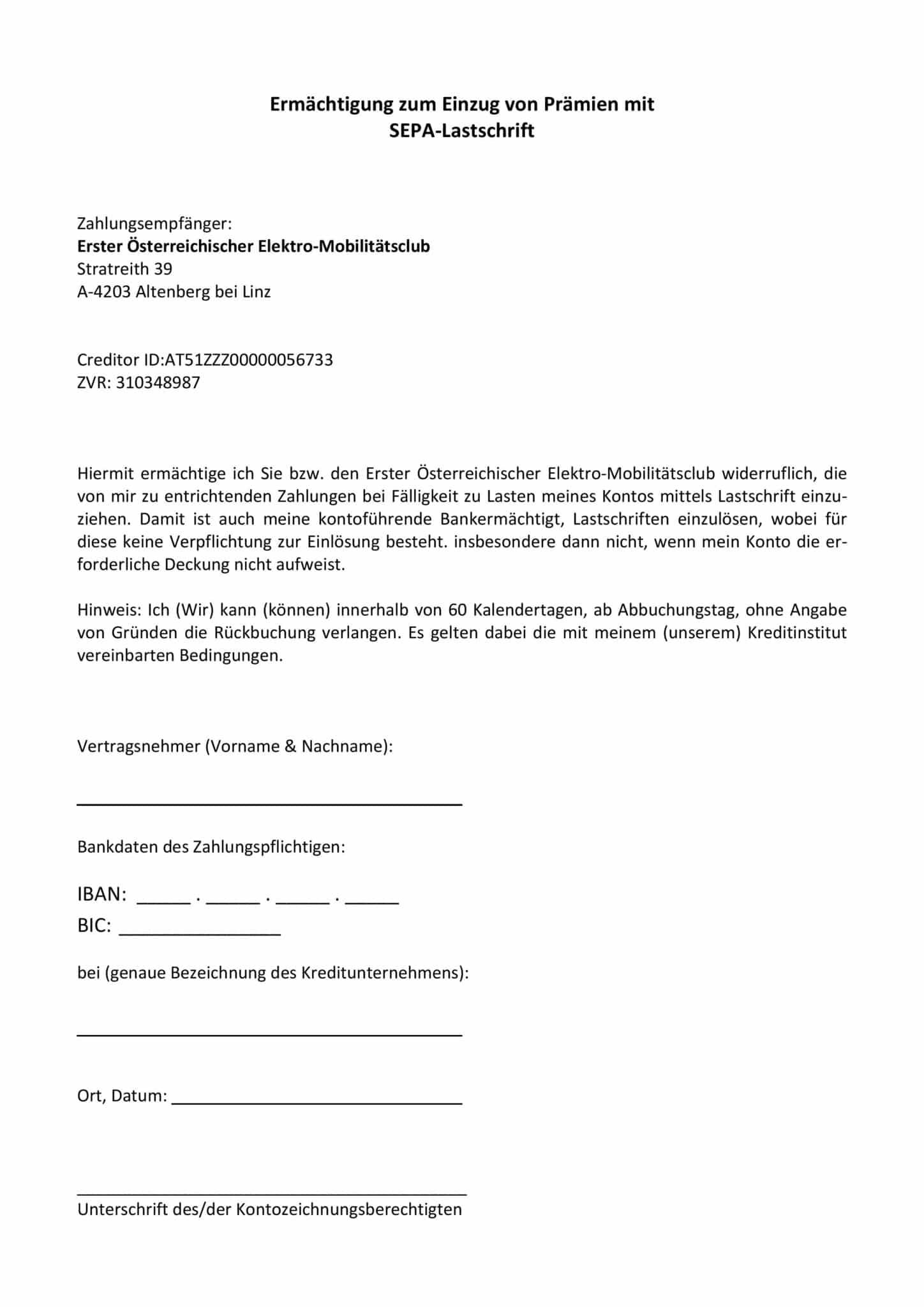 EMC-SEPA (Bankeinzug) Formular » SEPA EMC page 001