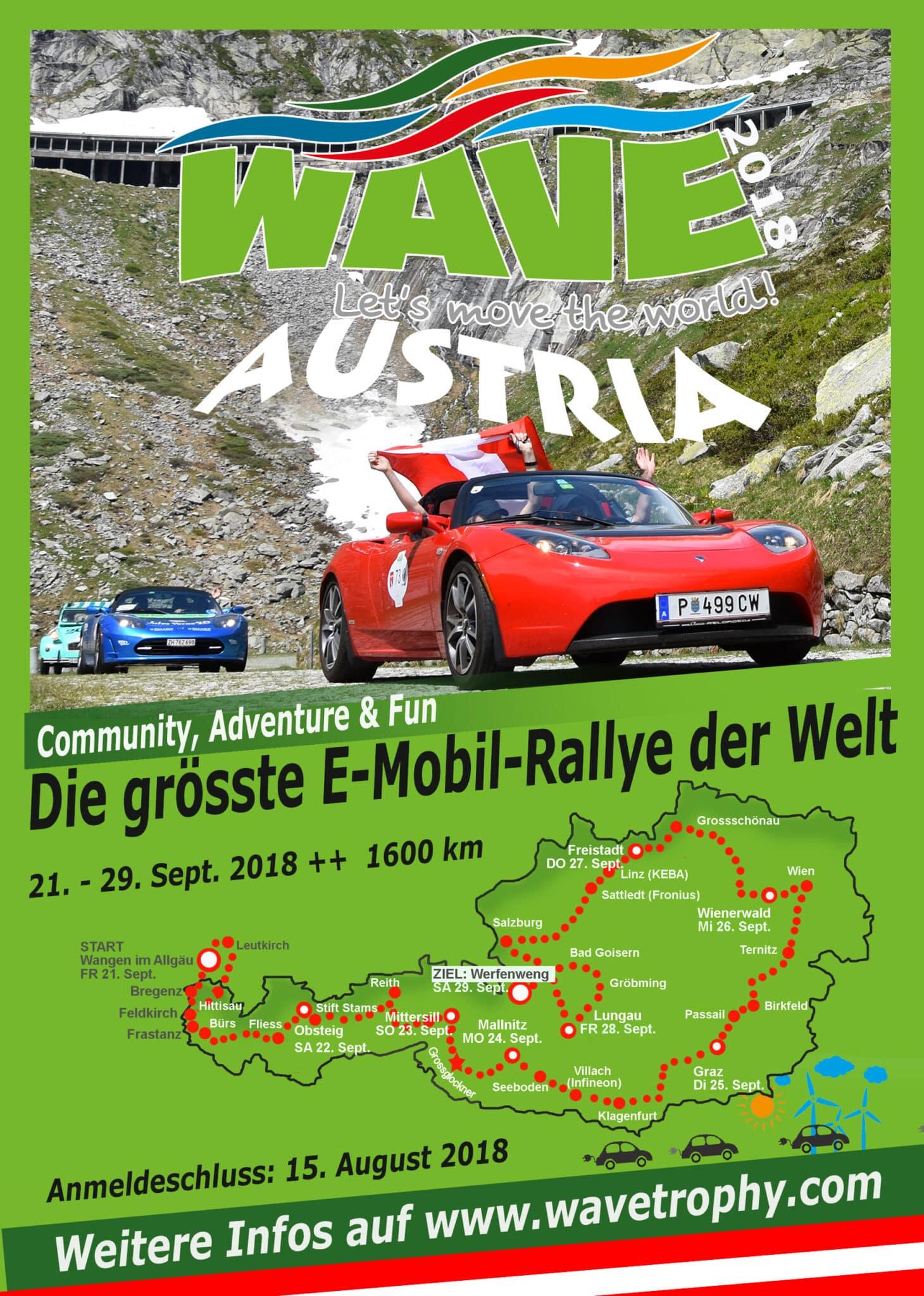 WAVE Trophy 2018 - Elektromobilitäts-Rallye kommt nach Freistadt » Flyer 2018 Austria
