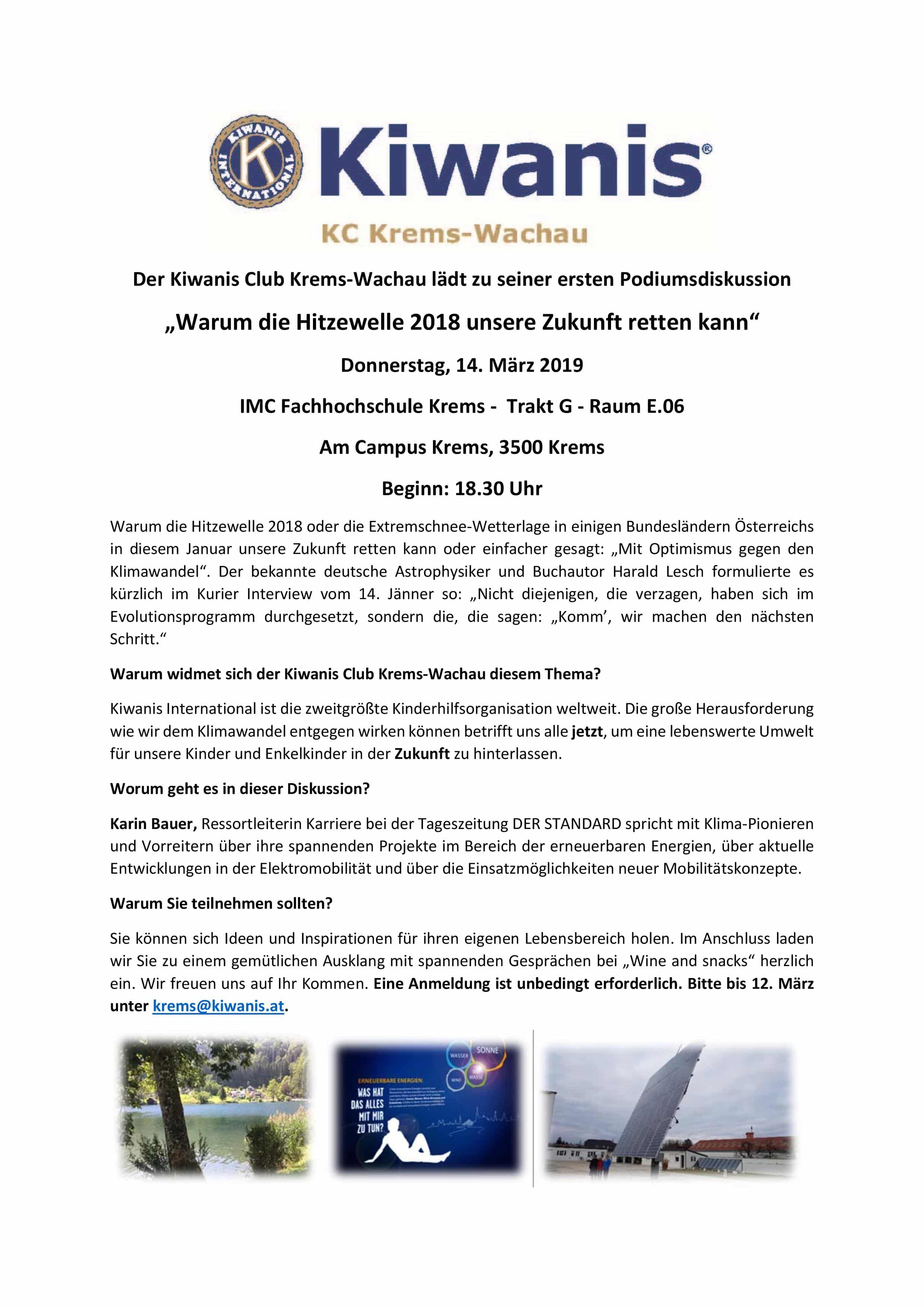 """Kiwanis - """"Warum die Hitzewelle 2018 unsere Zukunft retten kann"""" » Kiwanis Club Krems Wachau Podiumsdiskussion final Seite1 page 001"""