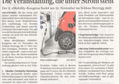 Pressespiegel » OÖNachrichten Bewerbung eMobility Kongress