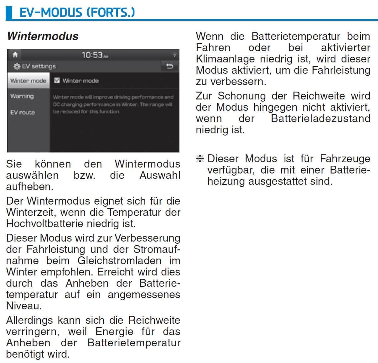 Hyundai Kona - Einzelexemplare in Österreich ohne Akku-Heizung ausgeliefert » Kona Wintermodus