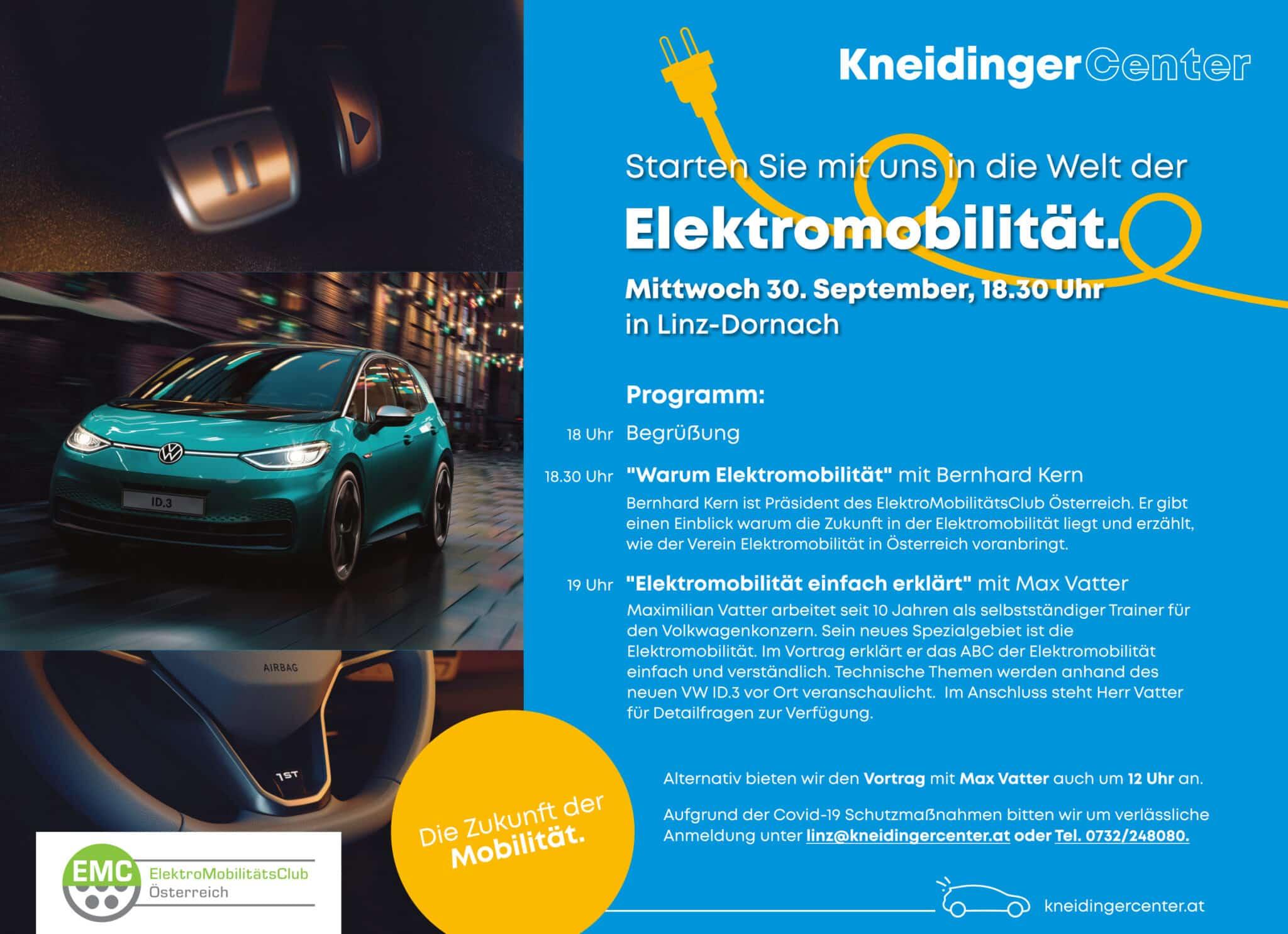 Die Zukunft der Mobilität - Kneidinger Center | Inserat Elektromobilitaet Linz EMC scaled